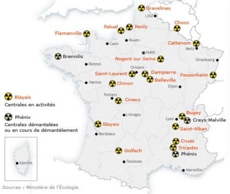 Anzahl und Verteilung der Atomkraftwerke in Frankreich1