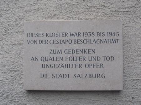 Mahntafel gegen den Nazi-Gestapo-Terror in Salzburg.